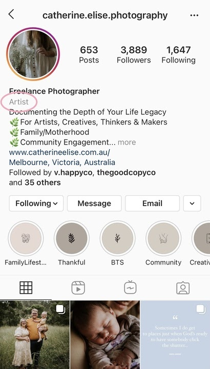 IG example of an artist account