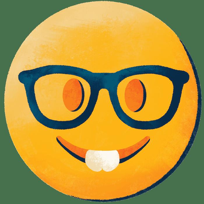 Illustration of TDP nerd emoji.