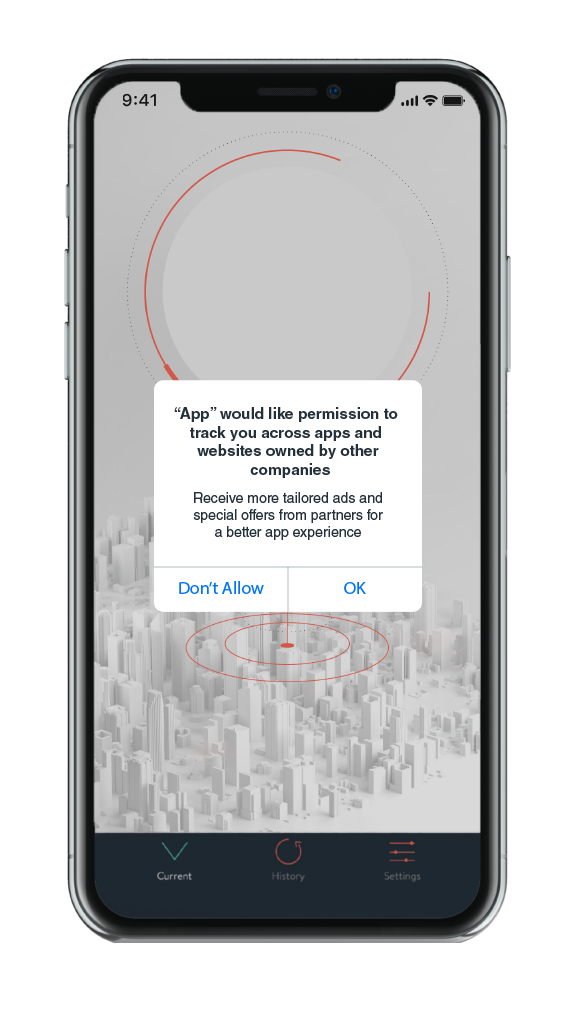 image of permissions prompt on Apple iPhone