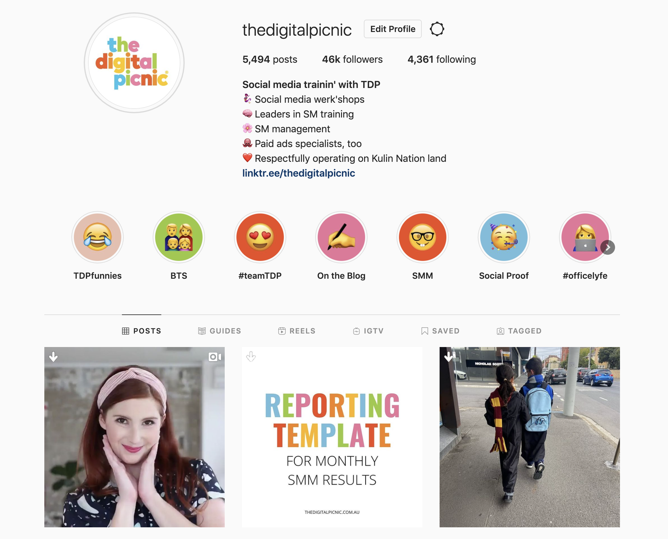 screenshot of our instagram feed, showing our logo, instagram bio and top 3 most recent posts