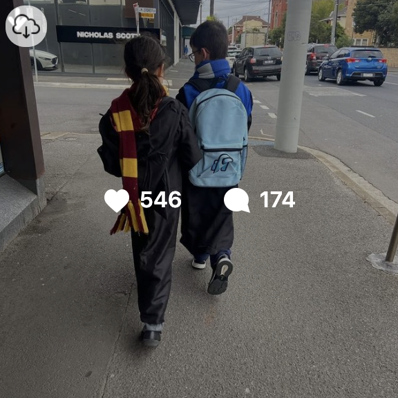 Image of Cheries two children walking ahead with the post insights displayed on top. This post shows 546 likes and 174 comments