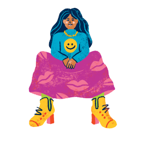Illustration of a coloured woman with dark hair wearing a blue jumper with a yellow smiley face, purple trousers with lips pattern and yellow shoes.