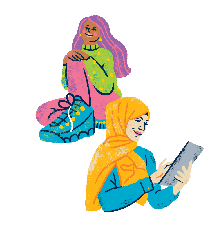 Illustration of a coloured female with purple and pink hair, a green sweater with yellow polka dots, pink trousers and blue shoes along with a woman wearing a yellow headscarf and a blue dress and using an iPad.