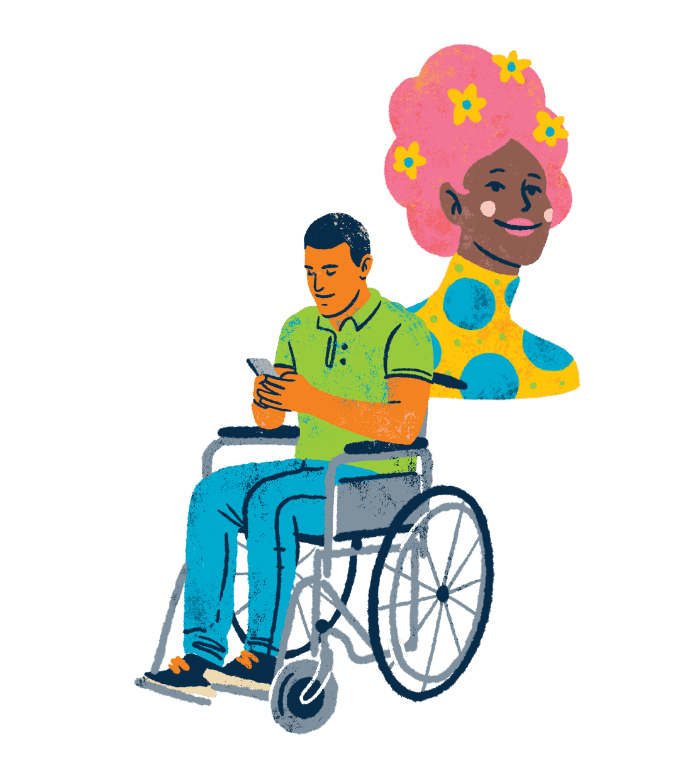 An illustration of a coloured man in a wheelchair using his mobile phone. He's wearing a green tshirt and blue trousers. There's also a woman with bright pink hair with flowers in it. She's wearing a yellow top with large blue polka dots.